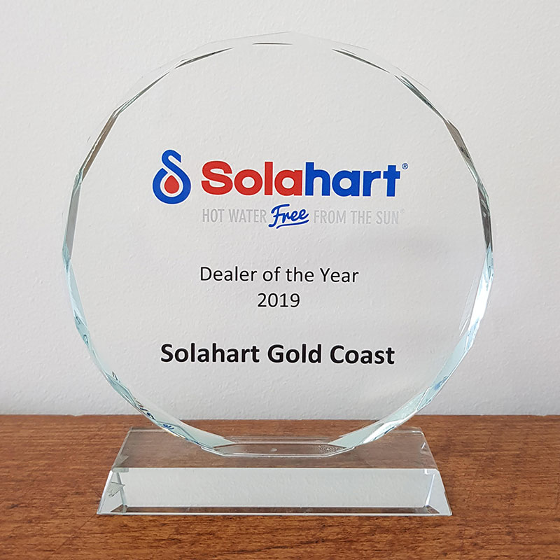 Solahart dealer of the year 2019 trophie